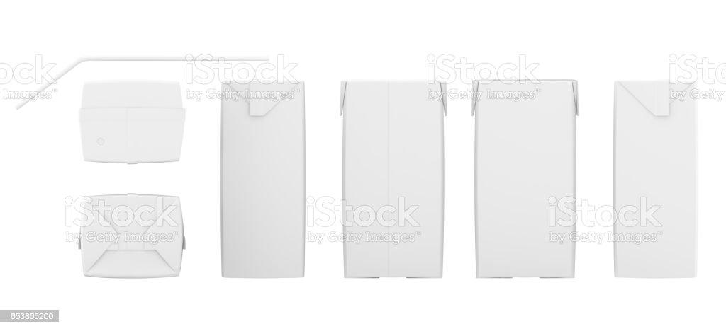 Conjunto de caixas de suco em branco. Maquete de pacote de varejo. Isolado no branco. renderização 3D - foto de acervo