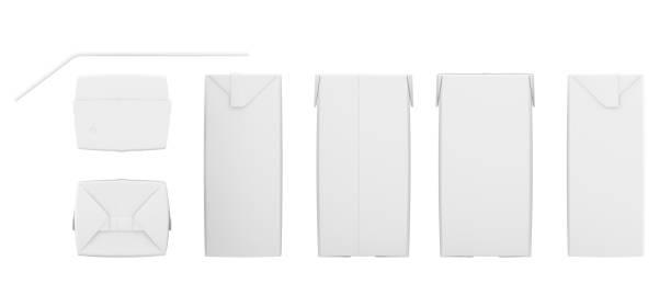 Ensemble de boîtes de jus blanc. Maquette de paquet de détail. Isolé sur blanc. rendu 3D - Photo