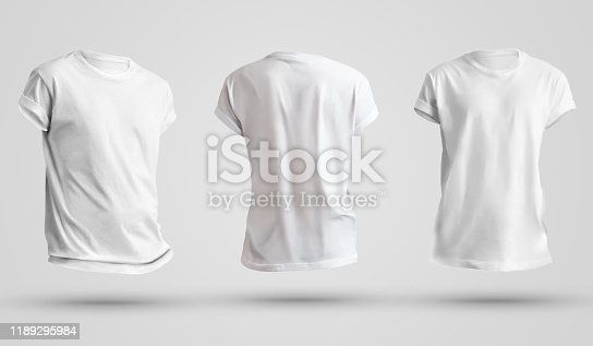 istock Set of blank men's t-shirts with shadows, front and back view. Design template on a white background. 1189295984
