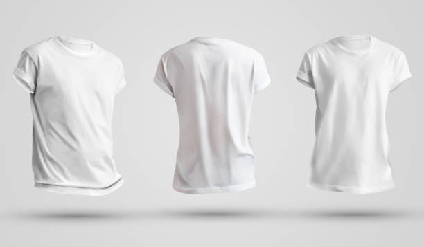 set of blank men's t-shirts with shadows, front and back view. design template on a white background. - teeshirt template imagens e fotografias de stock