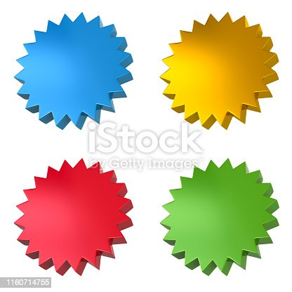 istock Set of blank sticker price tags icons 3d illustration 1160714755