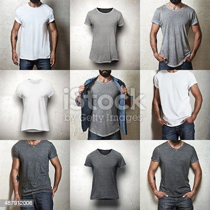 istock Set of blank t-shirts 487912006