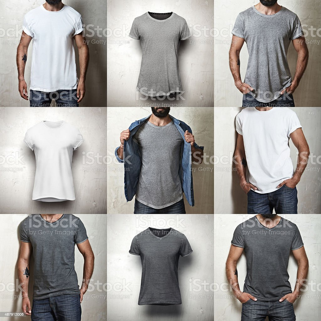 Set of blank t-shirts stock photo