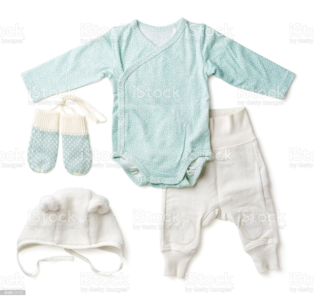 Set of blue baby clothes, from above stock photo