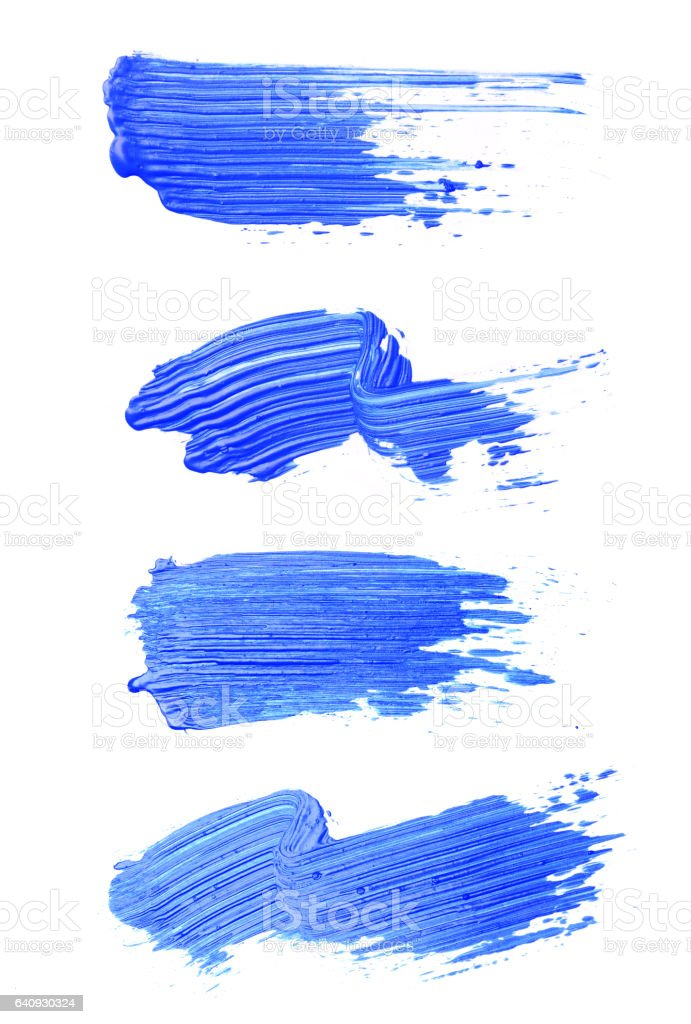 Set of blue brush strokes of acrilic paint as sample of art product stock photo