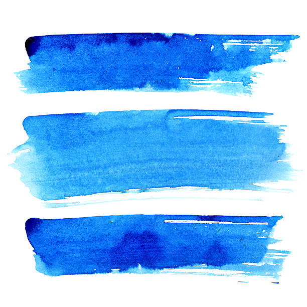 Set of blue brush strokes Set of blue brush strokes isolated on the white background brush stroke stock pictures, royalty-free photos & images