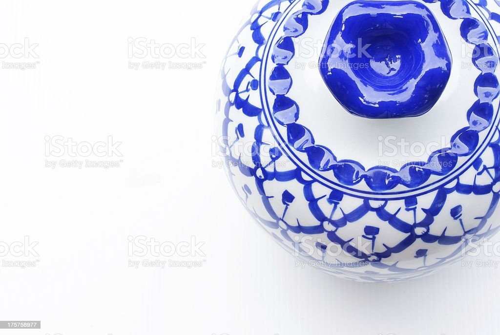 Set of blue chinaware royalty-free stock photo