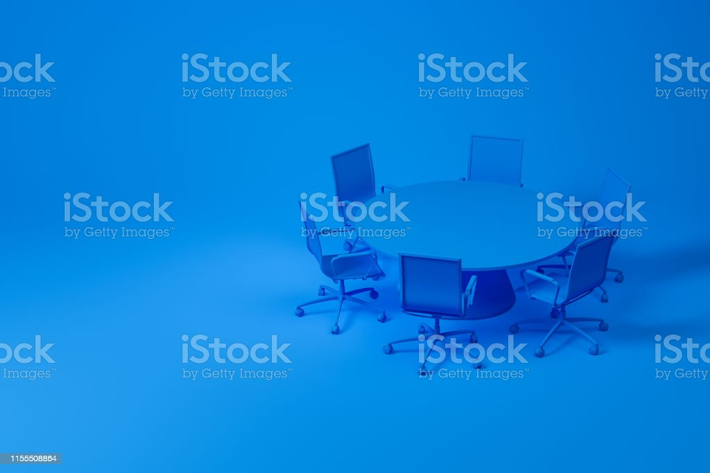 Set of meeting room furniture consisting of blue round table with...