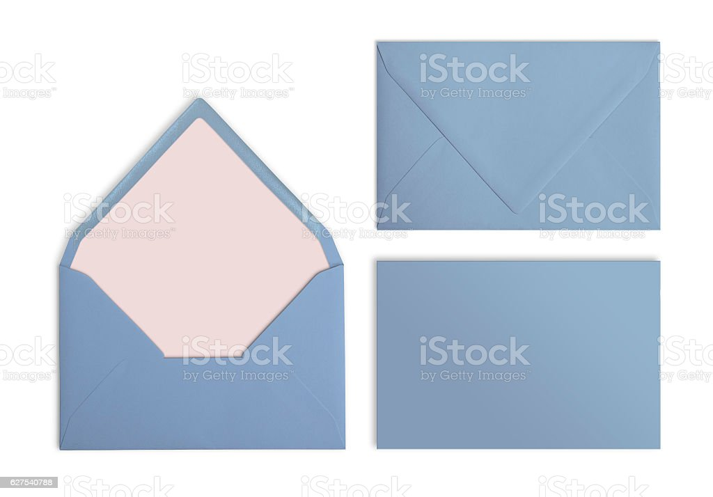 Set of blue envelopes, Mockup. Collection on white background. stock photo