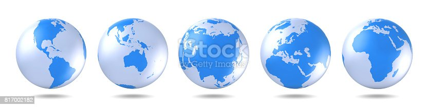 istock Set of blue globes. Five continents in different ways. America, Asia, Australia, Europe, Africa. 817002182