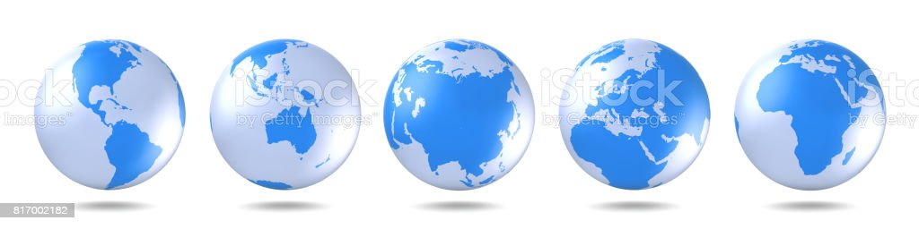 Set of blue globes. Five continents in different ways. America, Asia, Australia, Europe, Africa. stock photo
