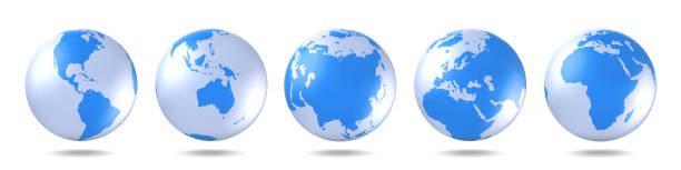 set of blue globes. five continents in different ways. america, asia, australia, europe, africa. - wave icon stock photos and pictures