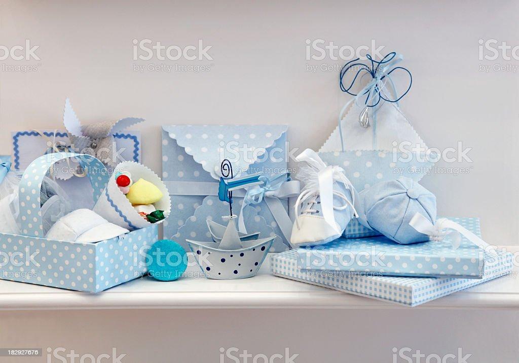 Set of blue newborn baby accessories stock photo