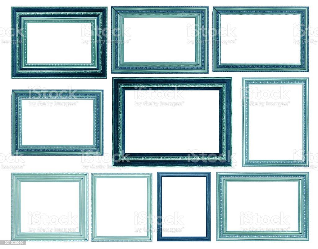 Ein set von blue Bilderrahmen isoliert auf weißem Hintergrund Lizenzfreies stock-foto