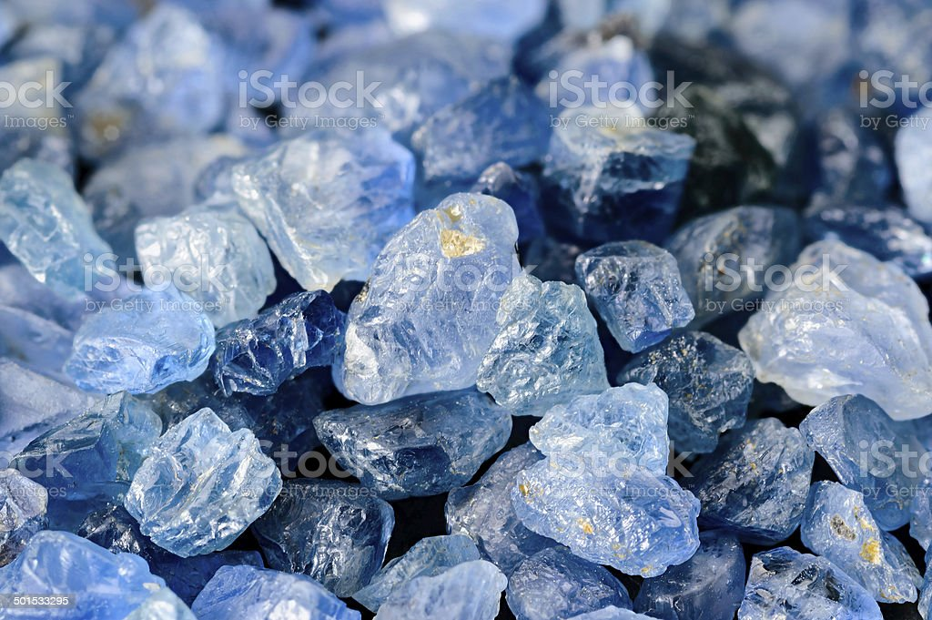 Set of blue sapphires stock photo