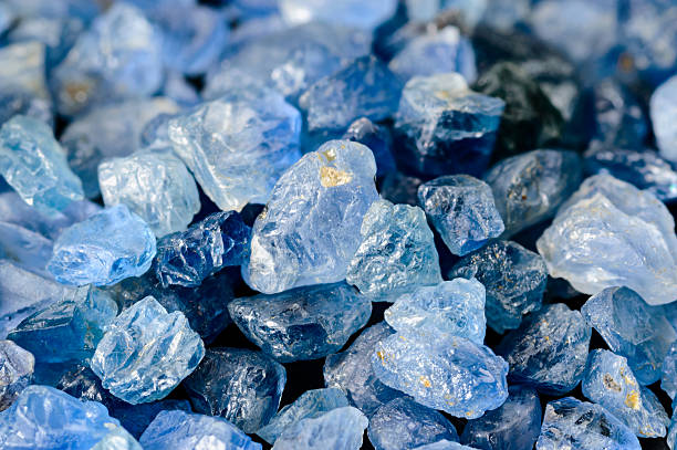 set of blue sapphires - sapphire gemstone stock photos and pictures