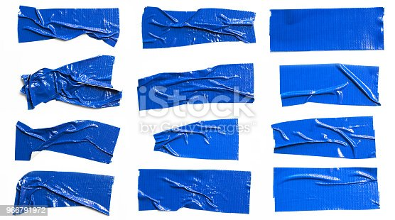 istock Set of Blue tapes on white background. Torn horizontal and different size blue sticky tape, adhesive pieces. 966791972