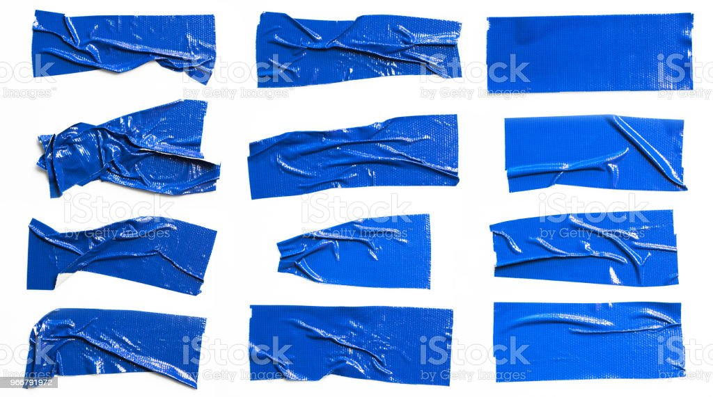 Set of Blue tapes on white background. Torn horizontal and different size blue sticky tape, adhesive pieces. stock photo