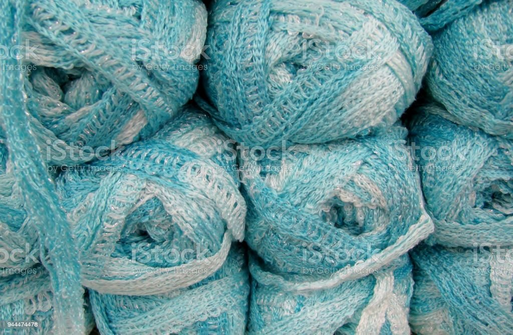 Set of blue wool yarn balls. stock photo