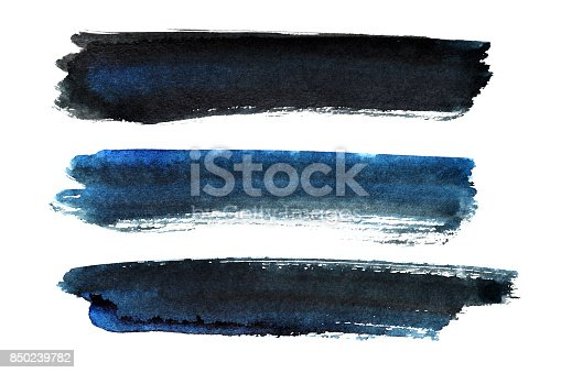 istock Set of blue-black brush strokes 850239782