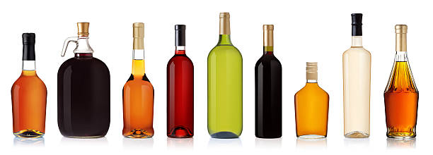 set of bottles isolated on white background - alcohol stock photos and pictures