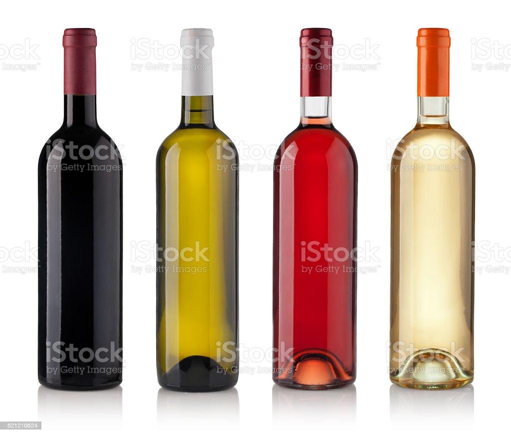Conjunto de botellas aislado sobre fondo blanco - foto de stock