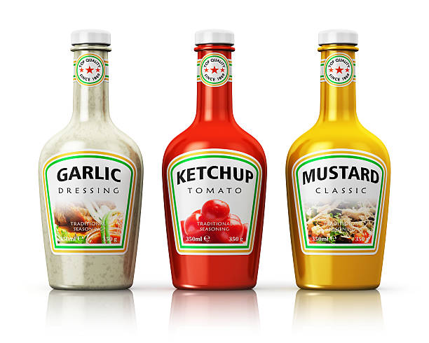 set of bottles with seasonings - ketchup bottle stock photos and pictures