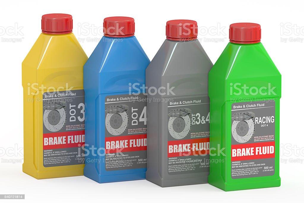 Set of Brake Fluid Bottles, 3D rendering stock photo