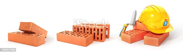 istock Set of bricks stacked. 3d illustration 826837668
