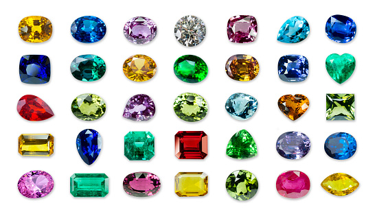 Set of Bright gems isolated on a white background