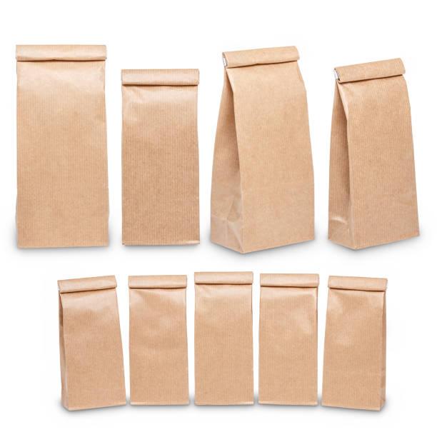 Set of brown craft paper bag stock photo