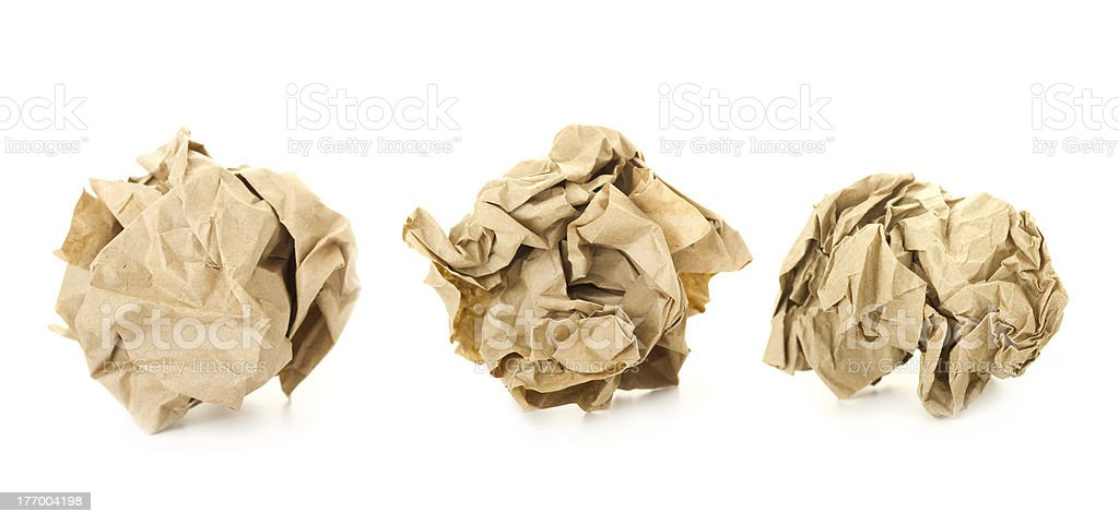 Set of  Brown Crumpled Paper Balls / isolated on white royalty-free stock photo