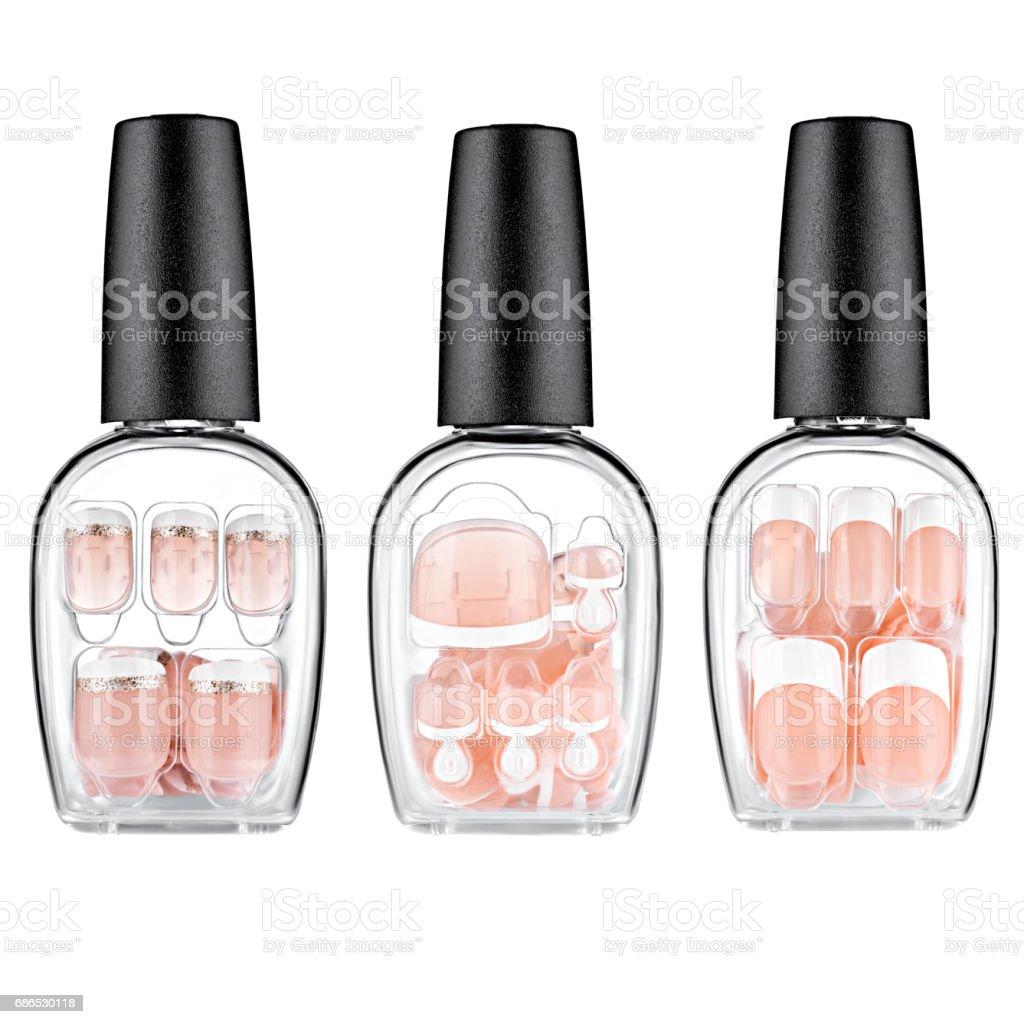 Set of brown false nails foto stock royalty-free