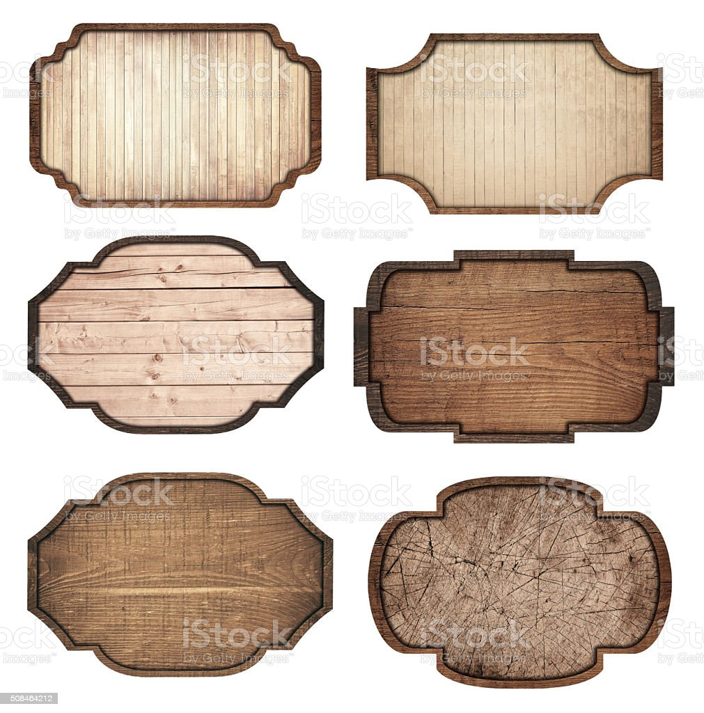 Set of brown wooden signboard, planks and dark frames are stock photo