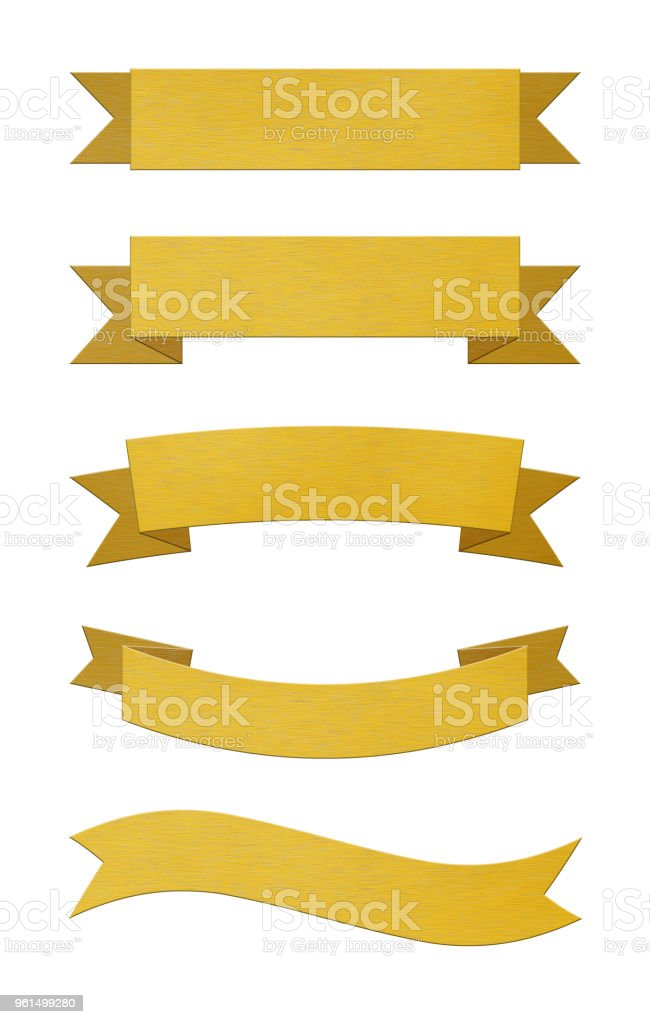 Set of brushed gold metal ribbon banners stock photo
