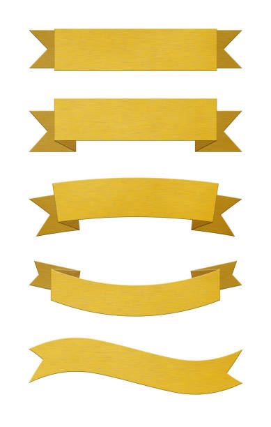 Set of brushed gold metal ribbon banners - foto stock
