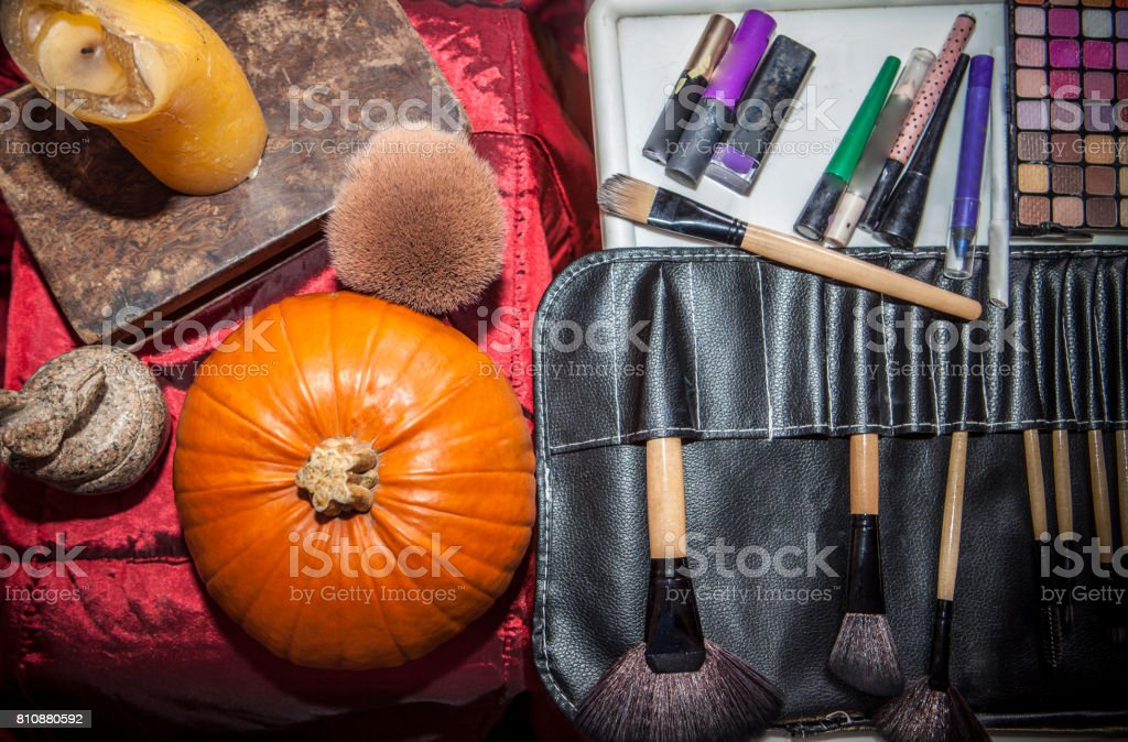 Set of brushes for makeup  with halloween objects stock photo