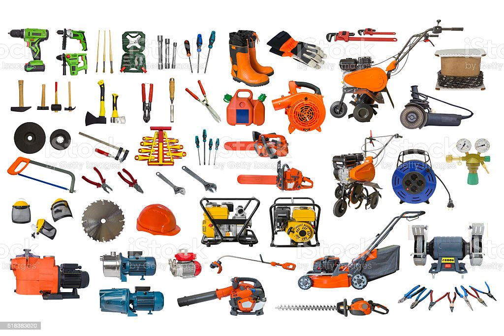 set of building and garden tools isolated on white background stock photo