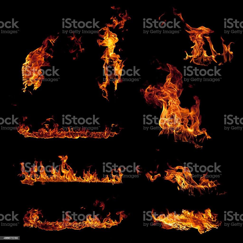 Satz von brennenden Feuer Flammen-Elemente, isoliert auf Schwarz – Foto