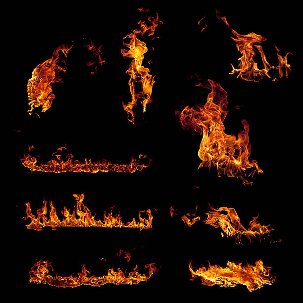set of burning fire flame elements isolated on black - vlam stockfoto's en -beelden