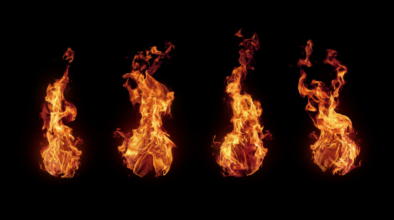 Set of burning fire flames isolated on black