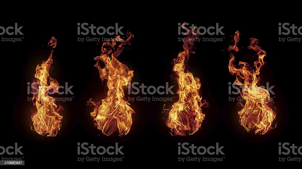 Set of burning fire flames isolated on black​​​ foto