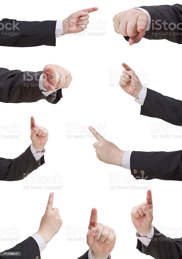 set of businessman pressing forefinger stock photo