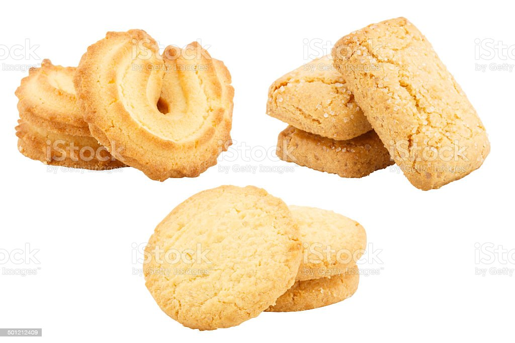 Set of butter cookies isolated on white background stock photo