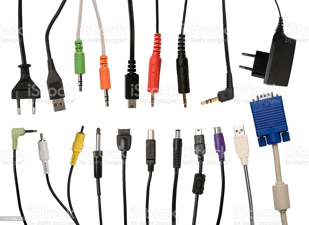 Set of cables stock photo