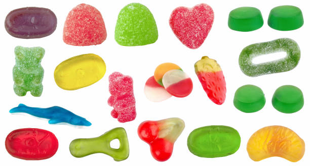set of candy of different shapes, colors and flavors - alejomiranda stock pictures, royalty-free photos & images