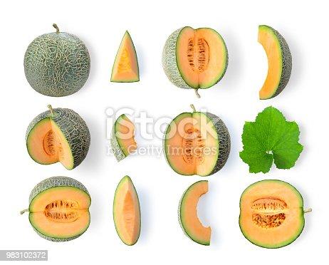set of cantaloupe melon isolated on white background