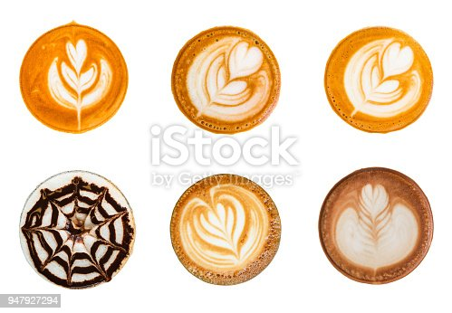 Top view of cappuccino, mocha and latte with latte art foam set isolated on white background.