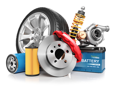 istock Set of car parts isolated on white background 3d 1034249292
