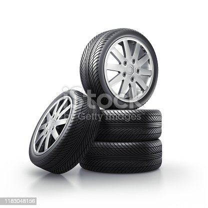 Isolated Car Tires and Wheels on white Background  - 3D illustration